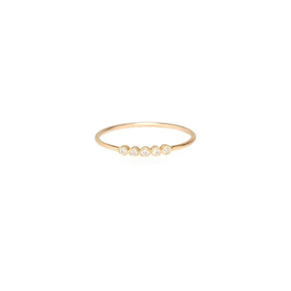 Zoe Chicco 14ct gold and five small bezel diamond ring