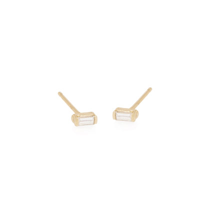 Zoe Chicco 14ct gold and baguette diamond stud earrings