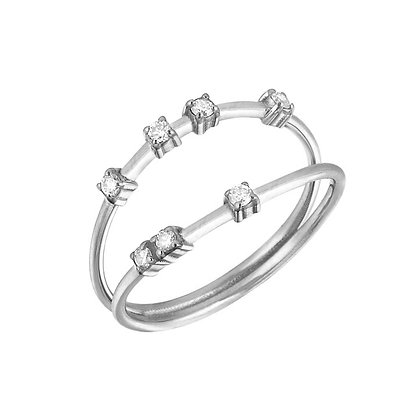 Kismet by Milka 14ct rose gold and diamond lightbeam double line band ring