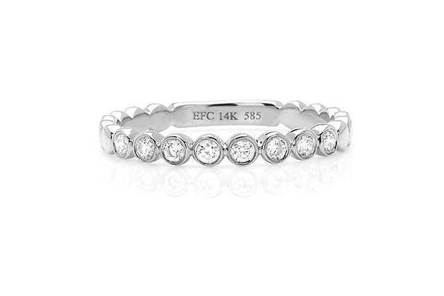 EF Collection 14ct white gold and diamond bezel stack ring