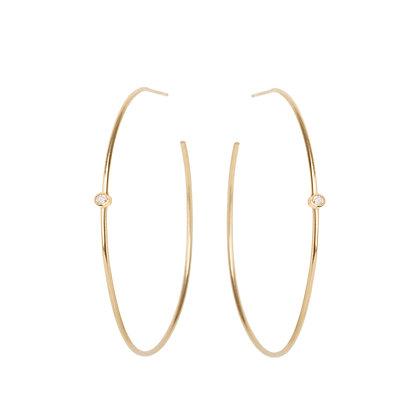 Zoe Chicco 14ct gold and diamond hoop earrings