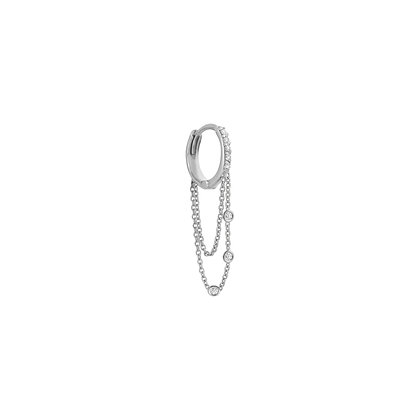 Kismet by Milka 14ct white gold and diamond drop hoop earring (single)