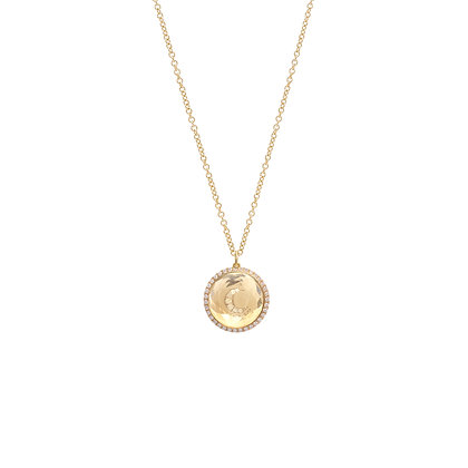 Noush 14ct gold and diamond moon necklace