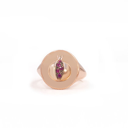 Noush 14ct rose gold and ruby love signet ring