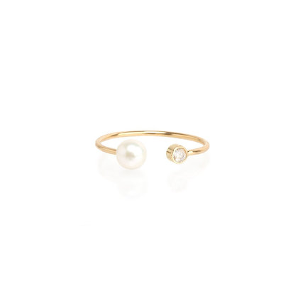 Zoe Chicco 14ct pearl and diamond open ring