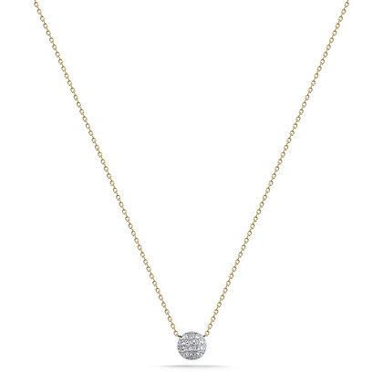 Dana Rebecca 14ct gold and diamond Lauren Joy disc necklace