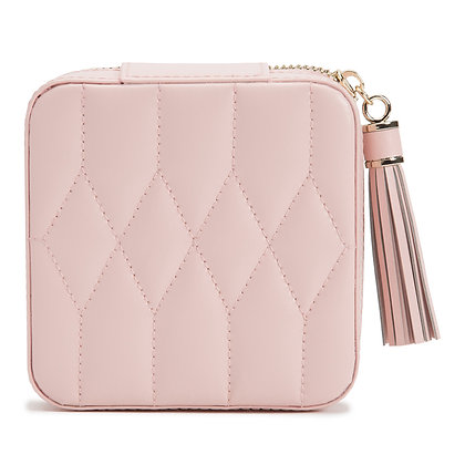 WOLF pink quilted leather jewellery pouch