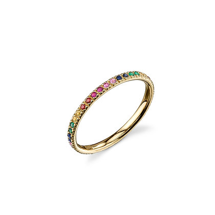 Sydney Evan 14ct gold, ruby, emerald and sapphire rainbow eternity band