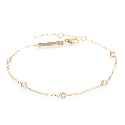 Zoe Chicco 14ct gold and diamond chain bracelet