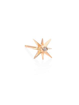 Sydney Evan 14ct gold and diamond sunburst stud earring (single)