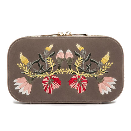WOLF luxury mink floral jewellery zip case
