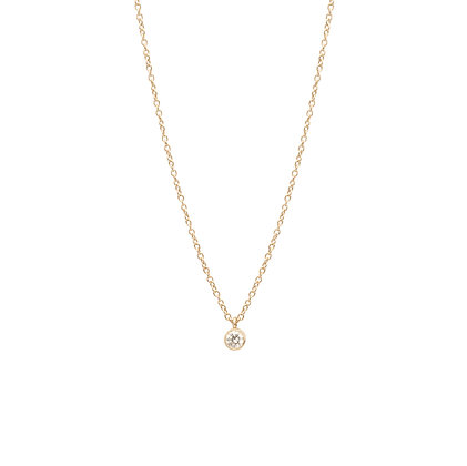 Zoe Chicco 14ct gold and diamond single drop necklace