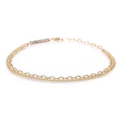 Zoe Chicco 14ct gold double chain curb bracelet
