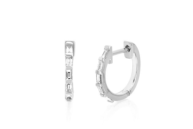 EF Collection 14ct white gold and baguette diamond huggie earrings