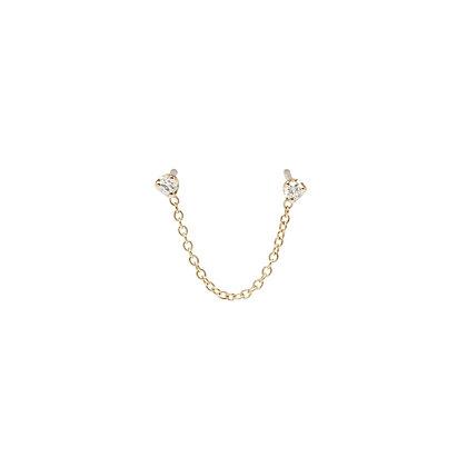 Zoe Chicco 14ct gold double chain earring (single)