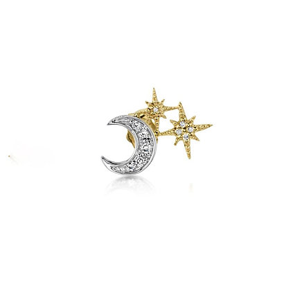 Sydney Evan 14ct gold and diamond star moon earring (single, right)