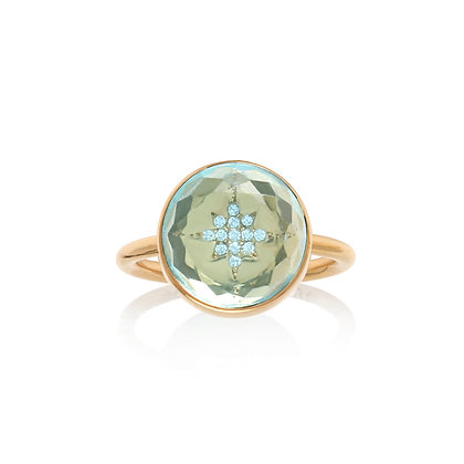 Noush 14ct gold, diamond and blue topaz north star ring