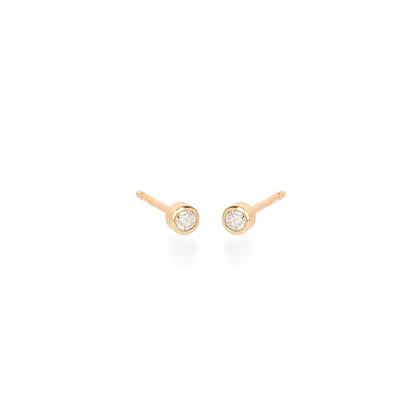 Zoe Chicco 14ct gold and diamond bezel set stud earrings