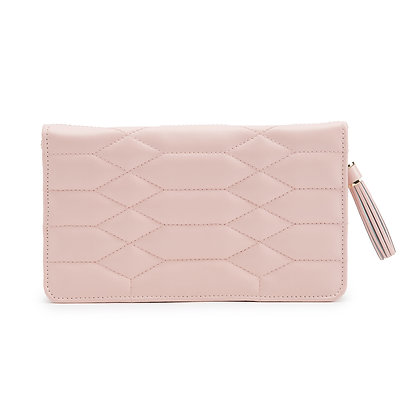 Luxury pink quilted leather jewellery pouch