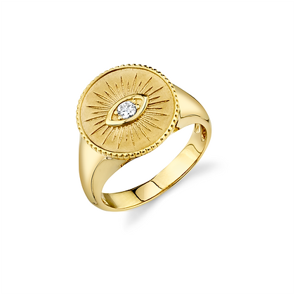 Sydney Evan 14ct gold and diamond evil eye coin ring