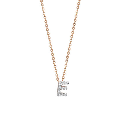 Kismet by Milka 14ct rose gold and diamond initial necklace 'E'