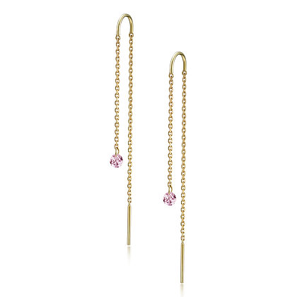 The Alkemistry 18ct gold drilled pink tourmaline earrings