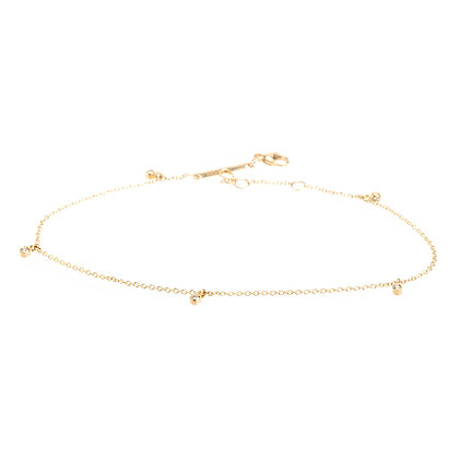 Zoe Chicco 14ct gold five drop diamond anklet