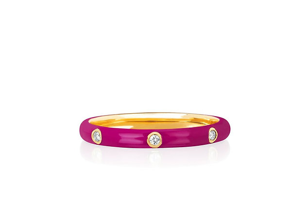 EF Collection 14ct gold and diamond cherry enamel stack ring