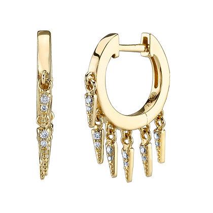 Sydney Evan 14ct gold and diamond fringe huggie hoop earrings