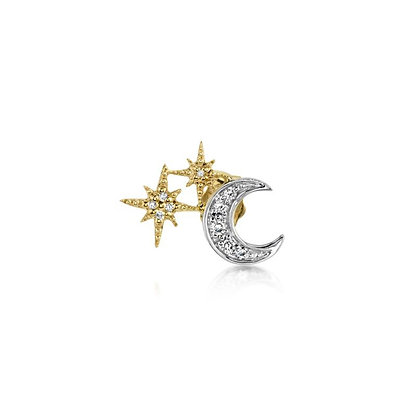 Sydney Evan 14ct gold and diamond star and moon earring (single, left)