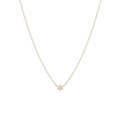 Zoe Chicco 14ct gold and diamond flower necklace