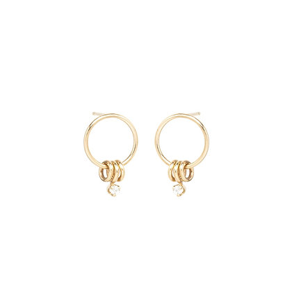 Zoe Chicco 14ct gold three rings front circle earrings