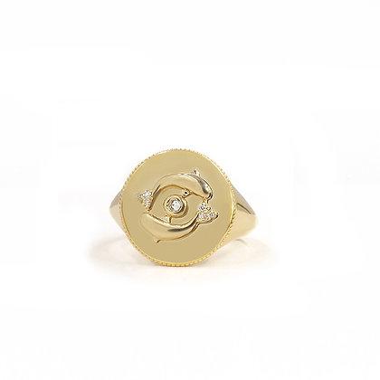 Noush 14ct gold and diamond life signet ring