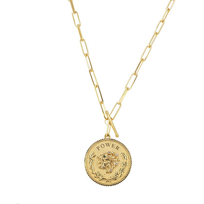 Noush 14ct yellow gold shiva power lion coin toggle necklace