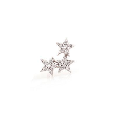 Kismet by Milka 14ct rose gold and diamond triple star stud earring (single)