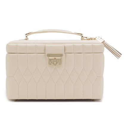 Luxury cream quilted leather medium jewellery box