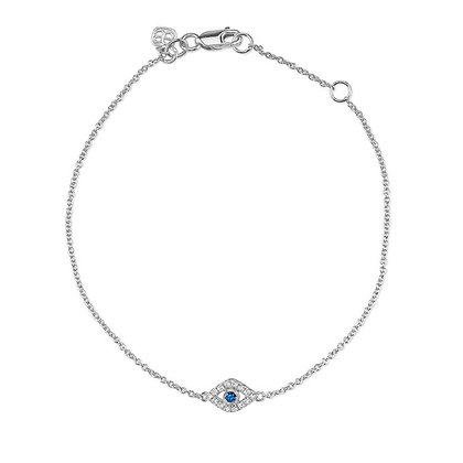 Sydney Evan 14ct white gold, diamond and sapphire evil eye set bracelet