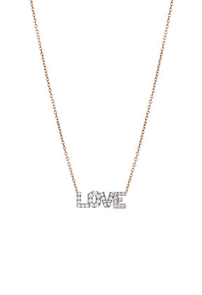 Kismet by Milka 14ct rose gold ad diamond 'love' pendant necklace