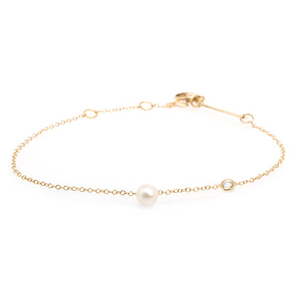 Zoe Chicco 14ct gold pearl and diamond bracelet
