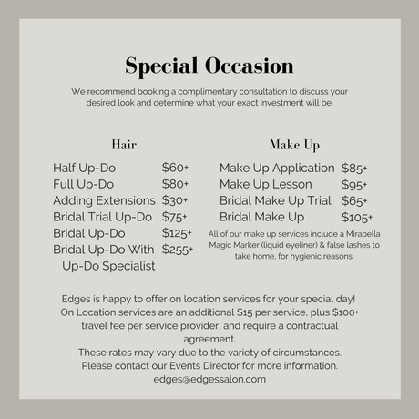 Edges Special Occasion Prices