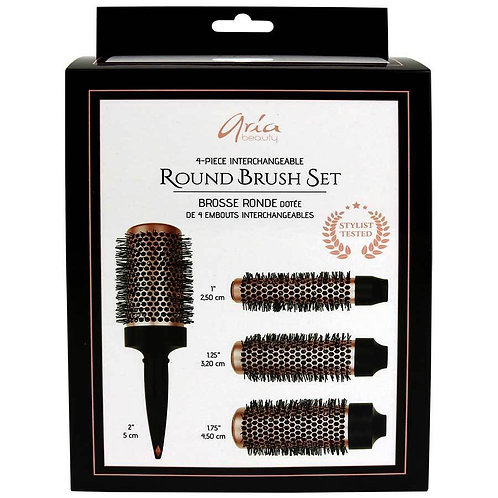 Aria Beauty 4-Piece Round Hair Brush Set