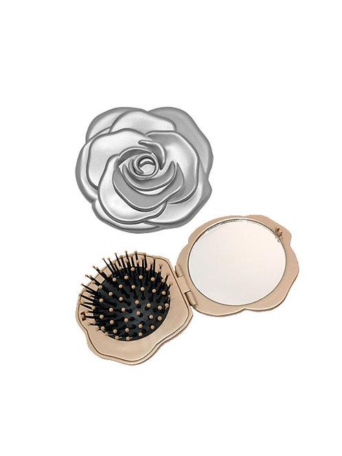 Avanti Flower Pocket Mirror & Brush