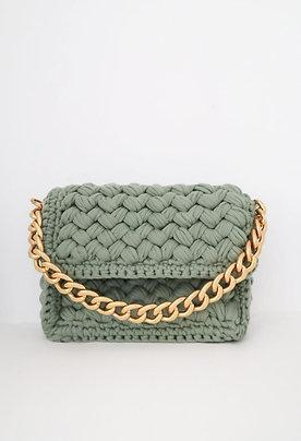 Green Hand-knitted Shoulder Bag