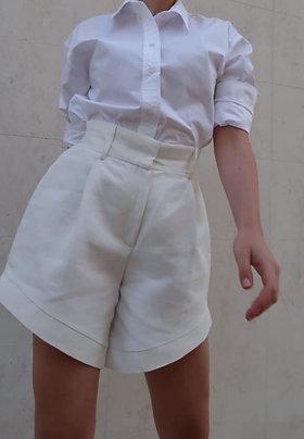 Linen Cutout Shorts