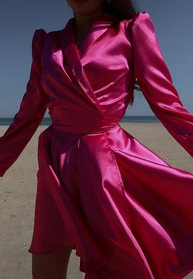 Fuchsia Pink Wrap Dress