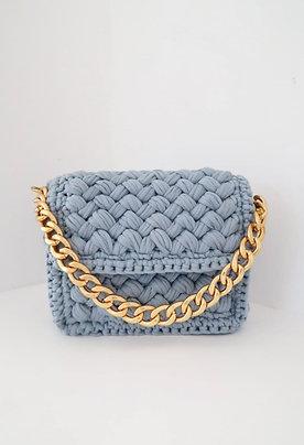 Blue Hand-knitted Shoulder Bag