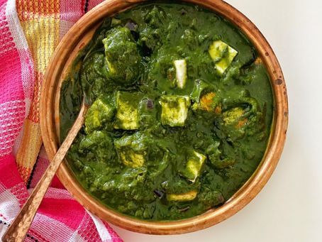 Spinach Indian Cottage Cheese (Palak Paneer)