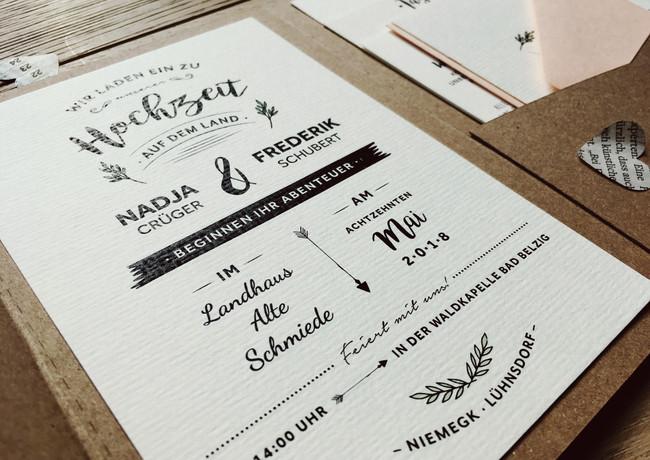 Hochzeitseinladung Kraftpapier