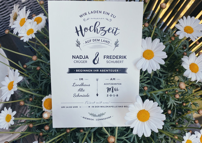 Hochzeitseinladung im Landhaus-Stil