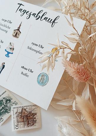 Tagesablauf mit Wedding-Icons